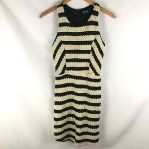 Fab'rik Striped Gold Shimmer Knit Fitted Dress